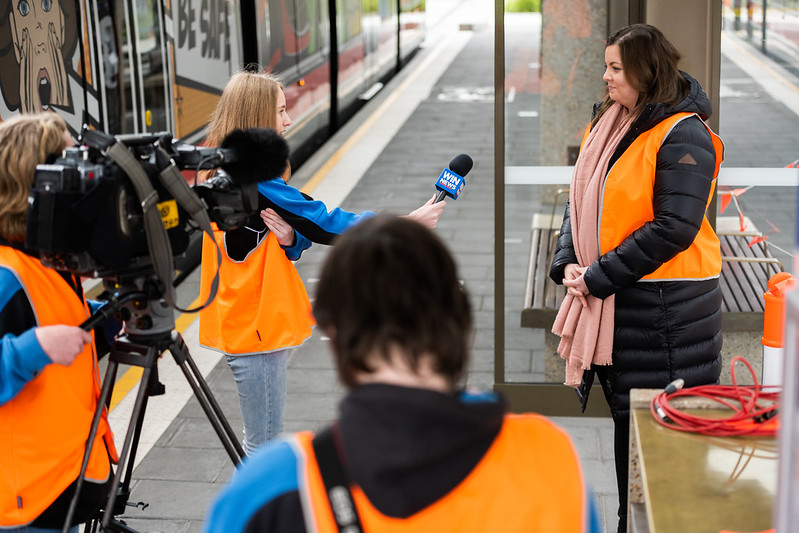 Gungahlin students interview a journalist at the emergency exercise